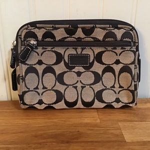Coach Signature Canvas/Leather Cosmetic Bag